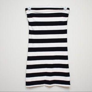 🆕Strapless Black and White Strip Dress